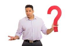 Punto interrogativo confuso dell'uomo Immagine Stock