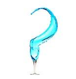 Punto interrogativo dell'acqua blu Fotografia Stock Libera da Diritti