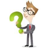 Punto interrogativo della tenuta dell'uomo d'affari illustrazione vettoriale