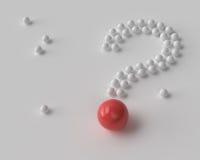 Punto interrogativo delle palle bianche e rosse Fotografia Stock
