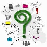 Punto interrogativo e collage con il fondo delle icone di web Immagini Stock Libere da Diritti