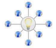Punto interrogativo e schema della lampadina Fotografia Stock Libera da Diritti
