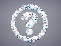 Punto interrogativo farmaceutico Fotografia Stock Libera da Diritti