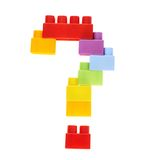 Punto interrogativo fatto dei mattoni del giocattolo Immagini Stock Libere da Diritti