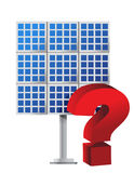 Punto interrogativo sopra un comitato solare Immagine Stock