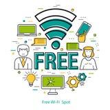 Punto libero di Wifi - linea Art Concept Fotografie Stock
