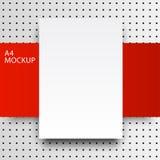Punto line-01 rojo de la maqueta de papel a4 Imagen de archivo