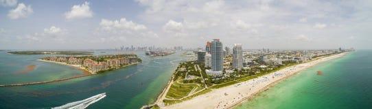 Punto más situado más al sur aéreo hermoso de Miami Beach Imagen de archivo libre de regalías