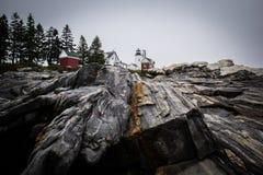 Punto Maine Lighthouse luminosa di Pemaquid fotografia stock libera da diritti