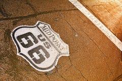 Punto mediano en Route 66 histórico Imágenes de archivo libres de regalías