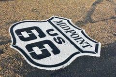 Punto mediano en Route 66 histórico Foto de archivo libre de regalías