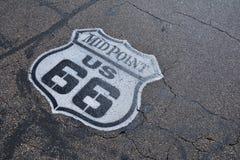 Punto mediano en Route 66 histórico Imagen de archivo libre de regalías
