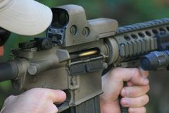 Punto negro en el compartimiento del rifle Foto de archivo libre de regalías