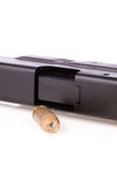 Punto negro hueco de la punta con el arma Fotos de archivo libres de regalías