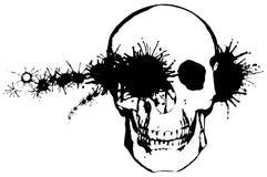 Punto negro a través de un cráneo humano Imagen de archivo libre de regalías