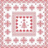 Punto nordico di inverno di stile scandinavo, tricottante modello senza cuciture nel quadrato, forma compreso i fiocchi di neve,  Fotografie Stock Libere da Diritti