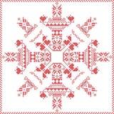 Punto nordico scandinavo di inverno, tricottante il modello di Natale dentro nella forma del fiocco di neve, con la struttura tra Fotografie Stock Libere da Diritti