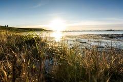 Punto o vista basso di un fiume con alta marea Fotografie Stock Libere da Diritti