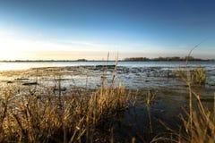 Punto o vista basso di un fiume con alta marea Fotografie Stock