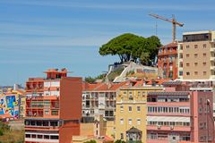 Punto panoramico del ` di Mirador del ` su una collina sopra le case di Lisbona Fotografia Stock