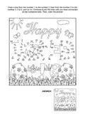 Punto--punto e pagina di coloritura con il saluto di Pasqua royalty illustrazione gratis