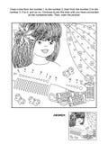 Punto--punto e pagina di coloritura con la bella ragazza royalty illustrazione gratis