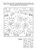 Punto--punto e pagina di coloritura con 3 uova di Pasqua illustrazione vettoriale