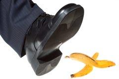 Punto su una buccia della banana Immagine Stock Libera da Diritti