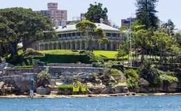 Punto Sydney de Kirribilli de la casa del Ministerio de marina Imagen de archivo libre de regalías