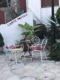 Punto tradicional del café para en el noroeste Grecia de Parga fotografía de archivo