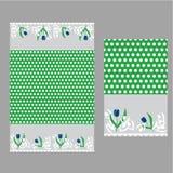 Punto y tulipanes blancos Modelo inconsútil Imagen de archivo libre de regalías