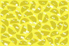 Puntos al azar blancos y semic?rculos de color caqui en fondo amarillo Modelo geom?trico abstracto de las formas en el estilo ret stock de ilustración