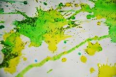 Puntos borrosos del verde amarillo, fondo ceroso, diseño creativo Fotografía de archivo libre de regalías