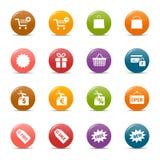 Puntos coloreados - iconos de las compras Fotos de archivo