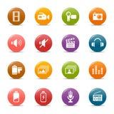 Puntos coloreados - iconos de los media Fotos de archivo libres de regalías