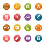 Puntos coloreados - iconos de los media Foto de archivo libre de regalías