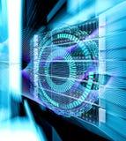 Puntos conectados extracto en fondo azul brillante Concepto de la tecnología stock de ilustración