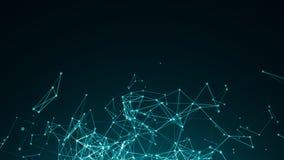 Puntos conectados extracto en fondo azul brillante Concepto de la tecnología Fotografía de archivo libre de regalías