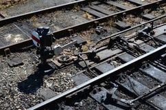 Puntos de empalme ferroviario y palanca de la señal Imagenes de archivo