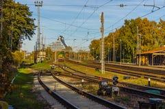 Puntos de la pista de ferrocarril en Riga, Letonia Fotografía de archivo libre de regalías