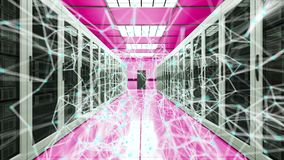 Puntos del sitio y de la conexión del servidor en el datacenter, la red y la tecnología de la telecomunicación de Internet, de la libre illustration