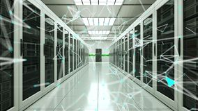 Puntos del sitio y de la conexión del servidor en el datacenter, la red y la tecnología de la telecomunicación de Internet, de la almacen de metraje de vídeo
