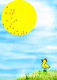 Puntos el Sun y el pollo. Imagen de archivo libre de regalías