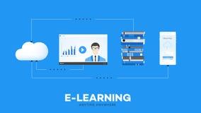 Puntos en línea de la ventaja de la educación de E-Laerning del ejemplo conceptual móvil del vector Pila de libros video de las l Imagenes de archivo