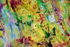 Puntos juguetones fangosos borrosos del verde del oro, formas, tonalidades en colores pastel abstractas Fotografía de archivo