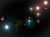 Puntos ligeros de las estrellas en fondo negro Imagenes de archivo