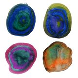 Puntos mezclados del color del chapoteo colorido de la acuarela ilustración del vector