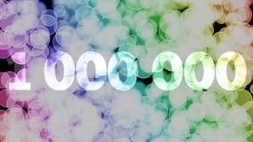 999999 a 1000000 puntos, nivel, fila se descoloran la animaci?n de in/out con el fondo de mudanza del bokeh de la pendiente del c libre illustration