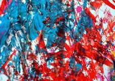 Puntos románticos azules rojos que pintan el fondo de la acuarela, fondo de pintura abstracto de la acuarela fotos de archivo libres de regalías