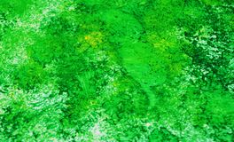 Puntos románticos vivos brillantes verde oscuro que pintan el fondo de la acuarela, fondo de pintura abstracto de la acuarela imagen de archivo
